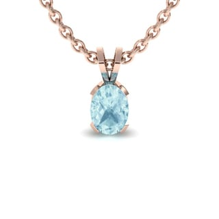 1 TGW Oval Shape Aquamarine Necklace In 14K Rose Gold Over Sterling Silver, 18 Inches