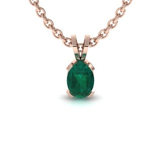 1 TGW Oval Shape Emerald Necklace In 14K Rose Gold Over Sterling Silver, 18 Inches