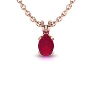 1 1/2 TGW Oval Shape Ruby Necklace In 14K Rose Gold Over Sterling Silver, 18 Inches