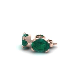 1 1/2 TGW Oval Shape Emerald Stud Earrings In 14K Rose Gold Over Sterling Silver