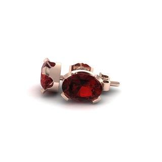 3 TGW Oval Shape Garnet Stud Earrings In 14K Rose Gold Over Sterling Silver