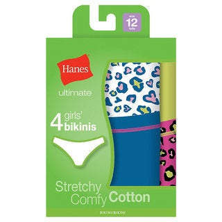 Hanes Ultimate Girls' Cotton Tagless Stretch Bikinis (Pack of 4)