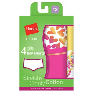 Hanes Girls' Ultimate Cotton Stretch Tagless Boy Shorts (Pack of 4)