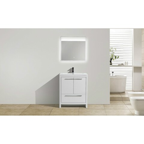 Moreno Bath MOD 30 Inch Free Standing Modern Bathroom Vanity with Reinforced Acrylic Sink