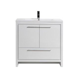 Moreno Mod White Acrylic Sink 36-Inch Single Bathroom Vanity