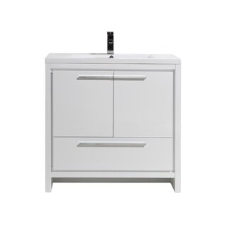 Moreno Mod White Acrylic Sink 36-Inch Single Bathroom Vanity