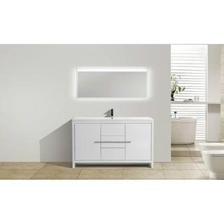 Moreno Mod White Acrylic Sink 60-inch Single Bathroom Vanity