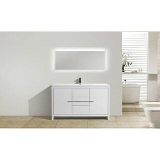 moreno mod white acrylic sink 60inch single bathroom vanity