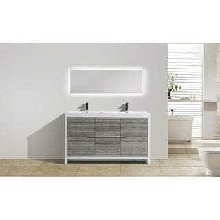 Moreno Mod White Acrylic Sinks 60-inch Double Bathroom Vanity