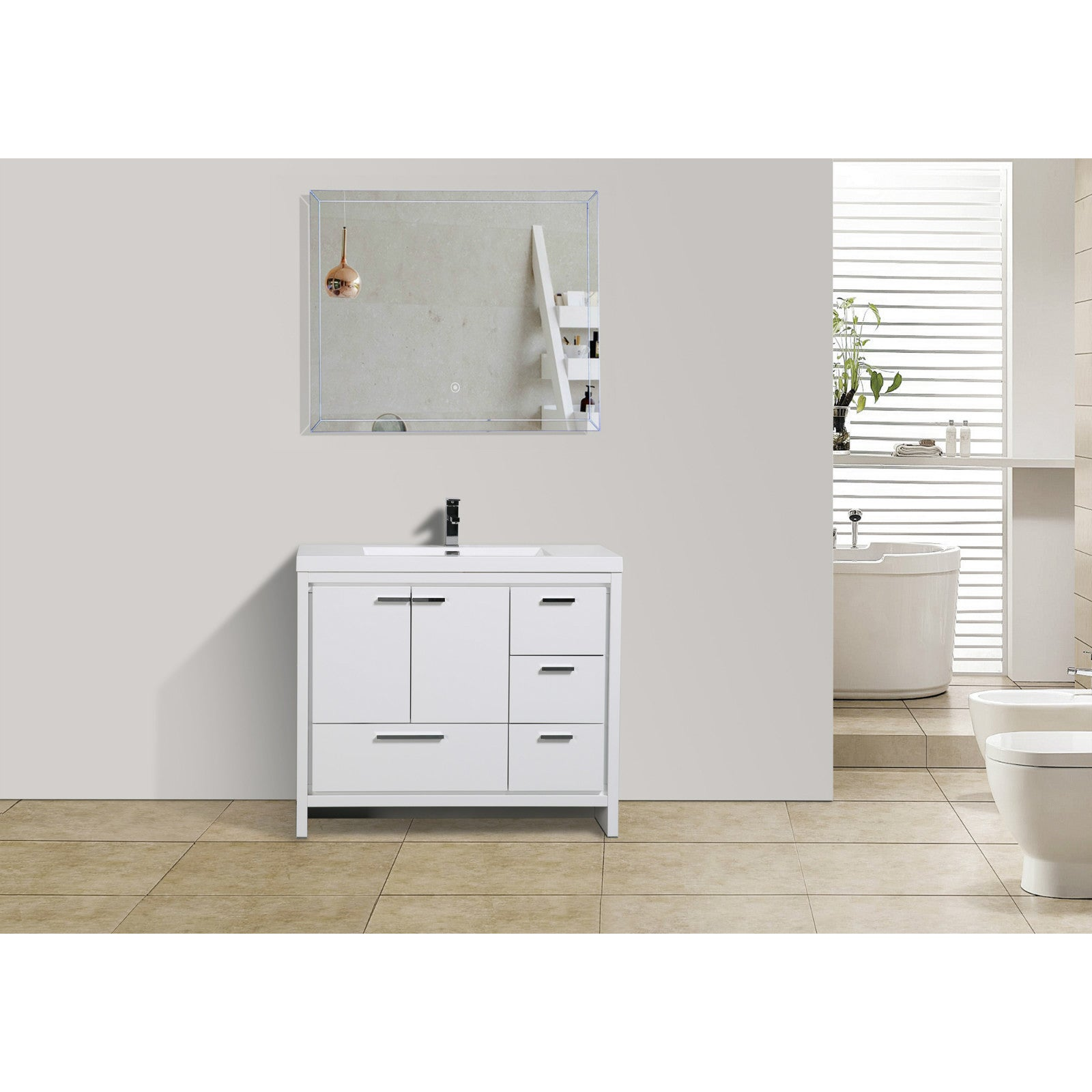 Moreno MOD 42 Inch Bathroom Vanity With Drawers (Option: High Gloss White)