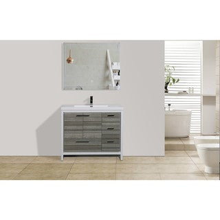 Moreno Bath MOD 42 Inch Free Standing Modern Bathroom Vanity with Reinforced Acrylic Sink And Right-Side Drawers