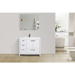 Moreno Bath MOD 42 Inch Free Standing Modern Bathroom Vanity with Reinforced Acrylic Sink And Left-Side Drawers