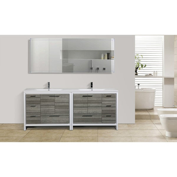 Moreno mod white acrylic sink 84 inch double bathroom vanity free shipping today overstock for 84 inch white bathroom vanity