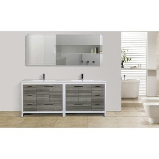 Moreno Mod White Acrylic Sink 84 Inch Double Bathroom Vanity