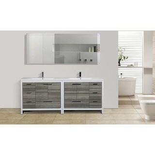 Moreno Mod White Acrylic Sink 84-inch Double Bathroom Vanity