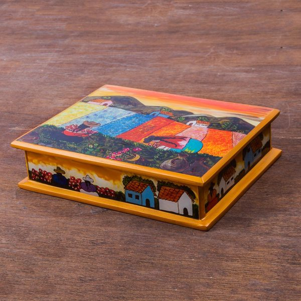 Handmade Painted Glass 'Mother and Daughter' Jewelry Box (Peru)