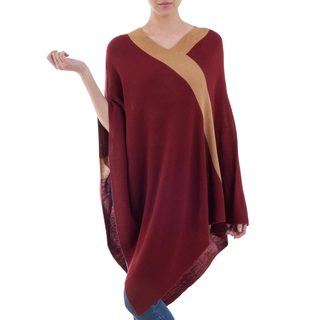 Handmade Acrylic Alpaca Blend 'Burgundy and Tan Beam of Light' Poncho (Peru)