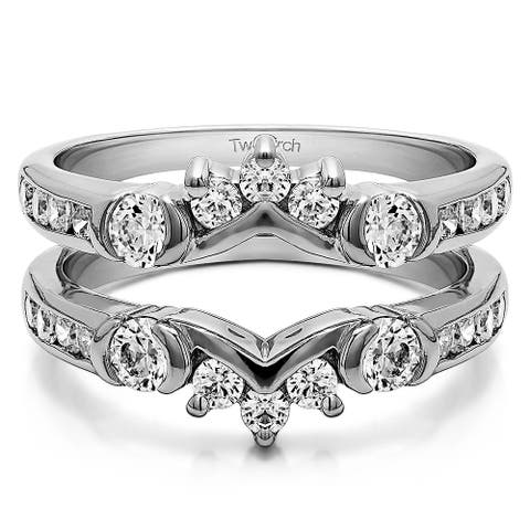 Sterling Silver 1ct TGW Cubic Zirconia Half Halo Classic Style Ring Guard