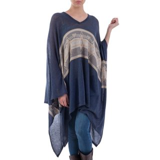 Handmade Cotton Blend 'Blue Inca' Poncho (Peru)