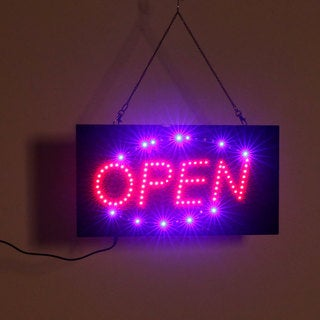 Black Plastic 110-volt US Plug Square LED Open Hanging Sign