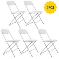 White Plastic Portable Folding Chairs (Pack of 5)