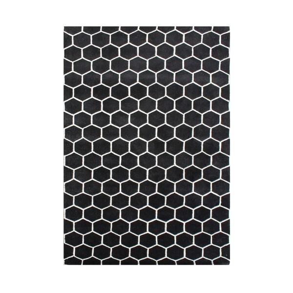 Alliyah Handmade New Zealand Blend Wool Clic White Geometric Rug 5 X27 X