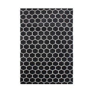 Alliyah Handmade New Zealand Blend Wool Classic Black Geometric Rug