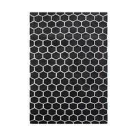 Alliyah Handmade New Zealand Blend Wool Classic Black Geometric Rug