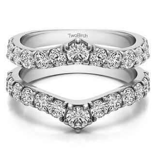 10k Gold 3/8ct TW Cubic Zirconia Delicate Graduated Contour Ring Guard (More options available)