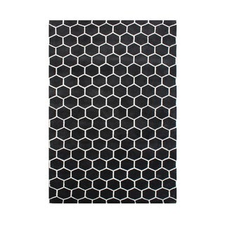 Alliyah Handmade New Zealand Blend Wool Casual Black Geometric Rug ( 4' x 6' )