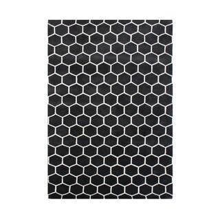 Alliyah Handmade New Zealand Blend Wool Casual Black Geometric Rug ( 4' x 6' ) - 4' x 6'