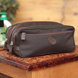 Handmade Men's Cotton Leather 'Andean Brown' Travel Case (Peru)
