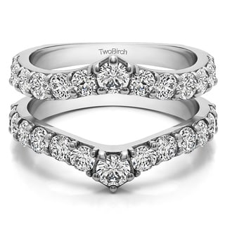 10k Gold 3/4ct TGW Cubic Zirconia Delicate Graduated Contour Ring Guard