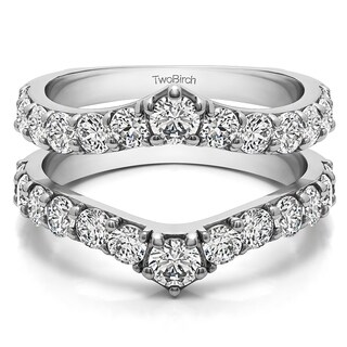 10k Gold 3/4ct TGW Cubic Zirconia Delicate Graduated Contour Ring Guard (More options available)