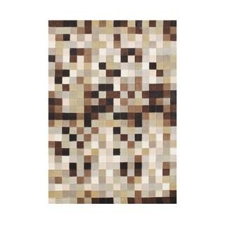Alliyah Handmade New Zealand Blend Wool Casual Brown Argyle Rug ( 5' x 8' )