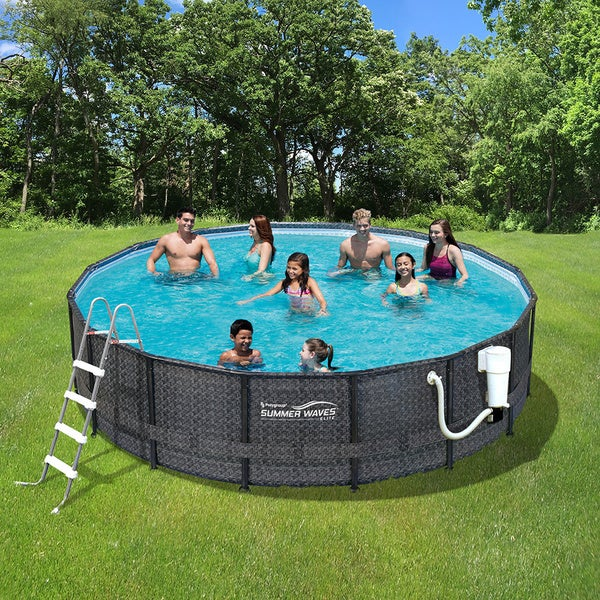 Dark Wicker Summer Waves Elite 15\' Round Metal Frame Pool - Free ...