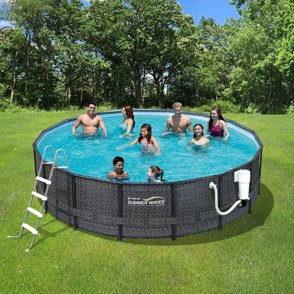 shop dark wicker summer waves elite 15 39 round metal frame pool free shipping today overstock. Black Bedroom Furniture Sets. Home Design Ideas