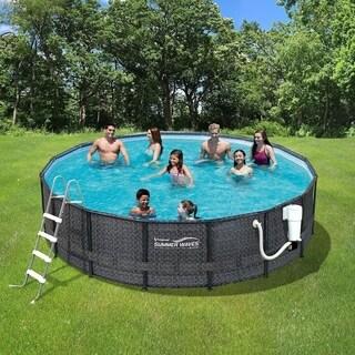 Dark Wicker Summer Waves Elite 15' Round Metal Frame Pool