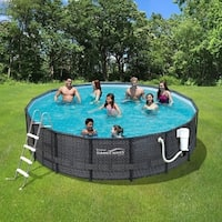 Dark Wicker Summer Waves Elite 15' Round Metal Frame Pool