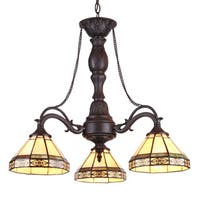 Chloe Tiffany Style Mission Design 3-light Blackish Bronze Mini Chandelier - Multi-color
