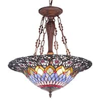 Chloe Tiffany Style Victorian Design 3-light Dark Antique Bronze Inverted Pendant - Multi-color