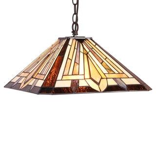 Chloe Tiffany Style Mission Design 2-light Dark Bronze Pendant - Multi-color