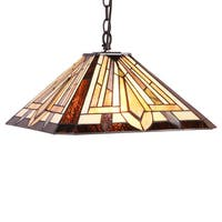 Chloe Tiffany Style Mission Design 2-light Dark Bronze Pendant - Multi-color
