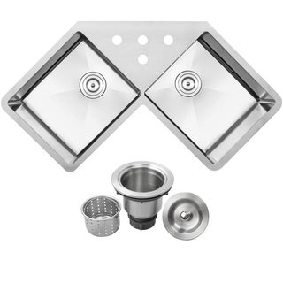 Ticor Stainless Steel 44 1/4-inch Double Bowl Undermount Butterfly Kitchen Sink with Tight Radius Corners