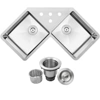 """44 1/4"""" Ticor TR1400 Bradford Series 16-Gauge Stainless Steel Undermount Double Basin Kitchen Corner Sink"""