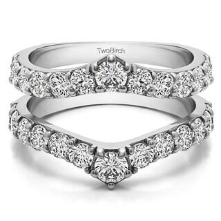 14k Gold 3/4ct TDW Diamond Delicate Graduated Contour Ring Guard