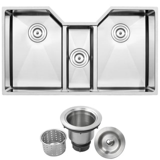 "35-1/2"" Ticor TR1500 Stainless Steel 16-gauge Triple Bowl Undermount Square Kitchen Sink with Tight Radius Corners"