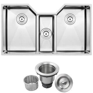 """35 1/2"""" Ticor TR1500 Bradford Series 16-Gauge Stainless Steel Undermount Triple Basin Kitchen Sink"""
