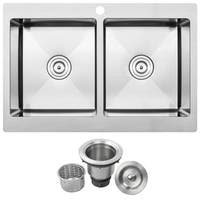 "33"" Ticor TR1800 Bradford Series 16-Gauge Stainless Steel Overmount Double Basin Center Drain Position Kitchen Sink"