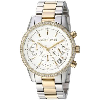 Michael Kors Women's 'Ritz' Chronograph Crystal Two-Tone Stainless Steel Watch